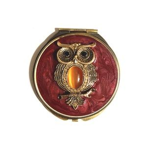 Spring Street Jeweled Owl Compact Makeup Mirror